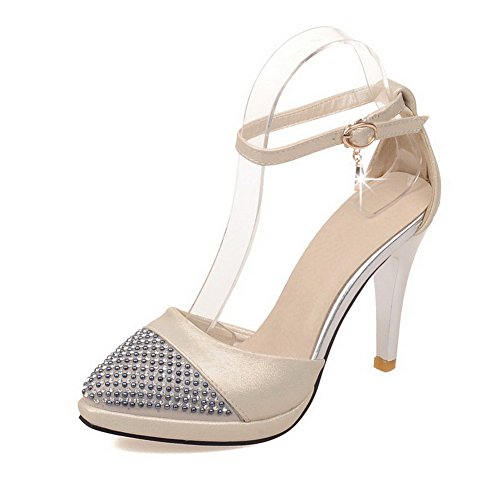 AllhqFashion Womens Buckle High Heels PU Solid Closed Pointed Toe Sandals Beige Jgn2y80GOV