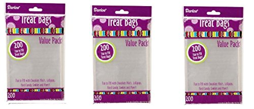 Darice 28-002V 3-3/4-Inch-by- 6-Inch Clear Treat Bag 3 pack totals 600-Pieces ()
