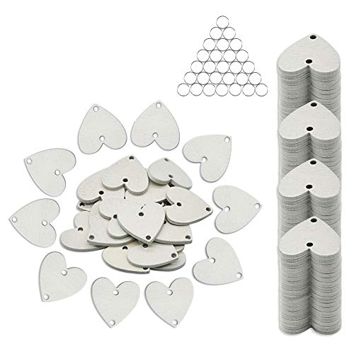 YuQi 100Pcs Wooden Heart Discs Milky Blank Tags, Natural Unfinished Wood Slices with Holes for Reminder Calendar Board Crafts Ornaments and Weddings Plaques Birthday Party Decoration