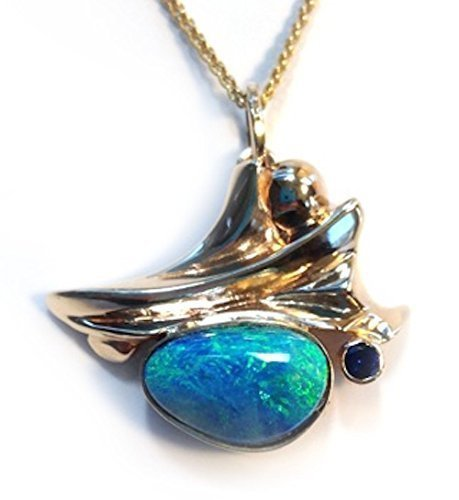 Blue Sapphire Doublet - 14K Yellow Gold Pendant with Opal Doublet and Blue Sapphire
