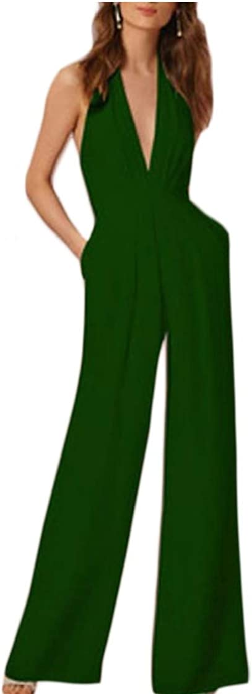 Etecredpow Womens Slim Sleeveless Wide-Leg Romper Halter Deep V Jumpsuits