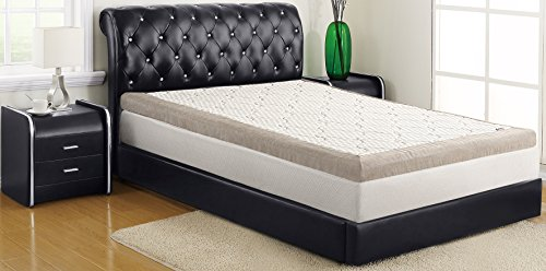 ALLRANGE Ultimate Cooling Quilted 4-Inch Gel Memory Foam Mattress Topper, Quilted Cooling Fiber Cover, Hypoallergenic, Chenille Fabric on Sides, Rolled Package, King Size
