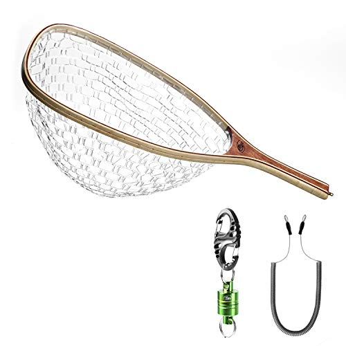 SF Fly Fishing Landing Soft Silicone Rubber Mesh Trout Catch and Release Net with Green Magnetic Net Release Combo Kit
