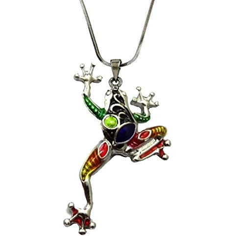 DianaL Boutique Silver Tone Colorful Frog Charm Pendant Necklace Enameled Gift Boxed Fashion - Frog Charm Pendant