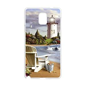 Diy Cool Lighthouse Custom Cover Phone Case for samsung galaxy note 4 White Shell Phone [Pattern-1]