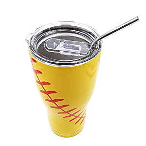 DeanFire 30oz Softball Tumbler Cups with Lid and Straw, Sports Coach Travel Coffee Mug, Stainless Steel,Vacuum Insulated, Gift for Mom Dad Friend (softball)