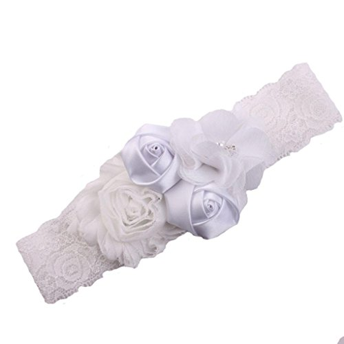 Crochet Christening Gown (Suit for 0-3 Years old,DIGOOD Toddler Baby Girls Boys Elastic Floral Hairband Daily Hair Decor Photo Prop (White))