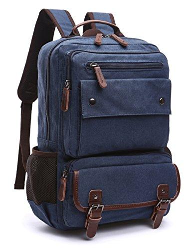 Vintage Canvas Laptop Backpack School College Rucksack Bag (Coffee) - 8