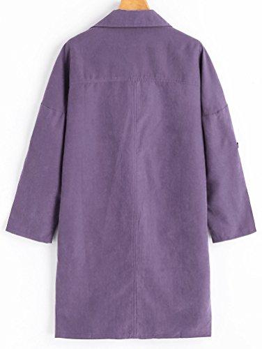 Cárdigan Larga Púrpura Trench Baymate Tops Outwear Suelto Blusa Coat Manga Abrigo Mujer Casual Chaquetas Largo WqaBvH