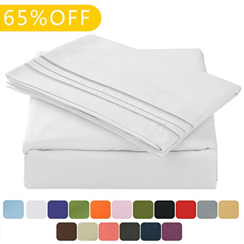 TasteLife 105 GSM Deep Pocket Bed Sheet Set Brushed Hypoallergenic Microfiber 1800 Bedding Sheets Wrinkle, Fade, Stain Resistant - 4 Piece(White,Queen) (Discount Bed Sheet Sets)