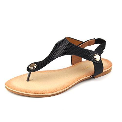 (MuDan Women Nail Casual Wear Gladiator Flat T-Strap Sandals (8 B(M) US, Black))