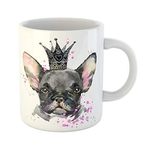 Semtomn Funny Coffee Mug Crown Cute Dog Watercolor for Graphics French Bulldog Portrait 11 Oz Ceramic Coffee Mugs Tea Cup Best Gift Or Souvenir