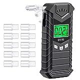 JASTEK Breathalyzer, Professional Breath Alcohol Tester High-Accuracy Rechargeable Digital Alcohol Tester Breathalyzer with 10 Mouthpieces - Dark Gray