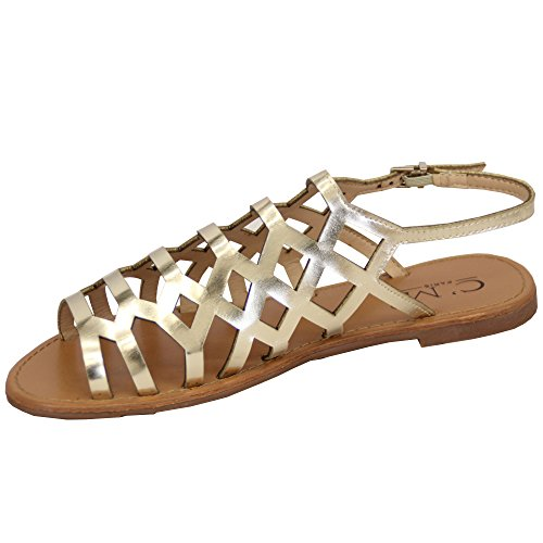 Flat Sandals Estate Open Moda 8839243 Gold New Toe Ladies Gladiator Womens Shoes Buckle xUTHwtqwR
