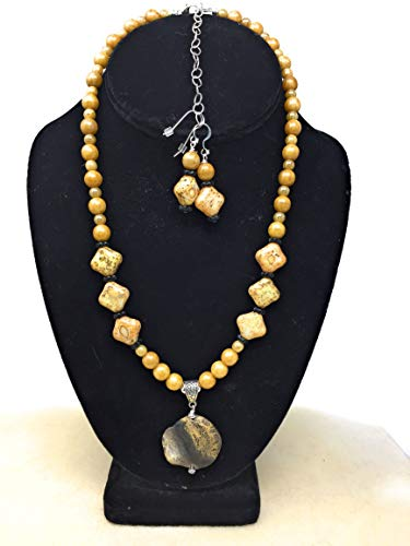 Gold Czech Glass and Picture Jasper Jewelry Set