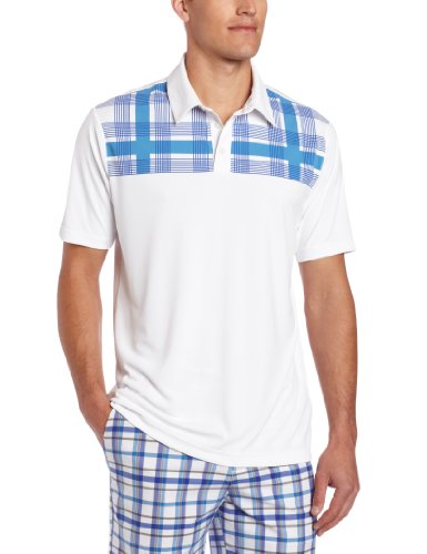 adidas Golf Men's Climacool Chest Plaid Polo, White/Oasis, Small