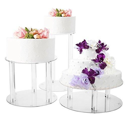 Jusalpha 3 Tier Acrylic Glass Round Wedding Cake Stand