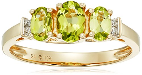 Yellow Gold Birthstone Three Stone Diamond Accented