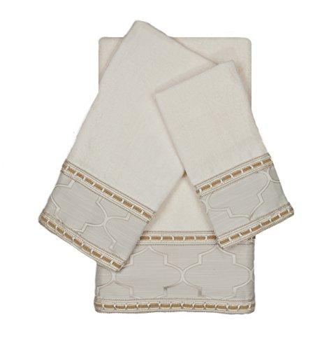 Austin Horn En Vogue Stanton Ribbon 3 Piece Decorative Embellished Towel Set, Ecru (Embellished Towel Sets)