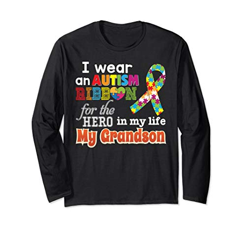 - I Wear An Autism Ribbon For My Hero Grandson T-Shirt Puzzle