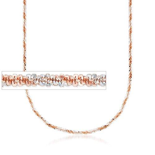 18kt Rose Gold Over Sterling Silver Crisscross Chain Necklace (18kt Over Sterling Silver Cross)