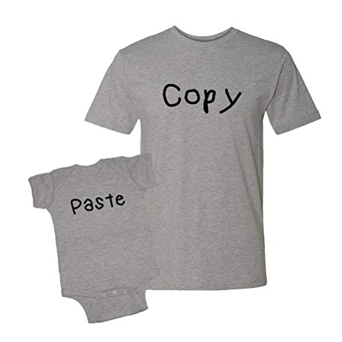 Copy & Paste (Kids Handwriting) Infant Bodysuit & T-Shirt Matching Set (Heather, Medium/6M)