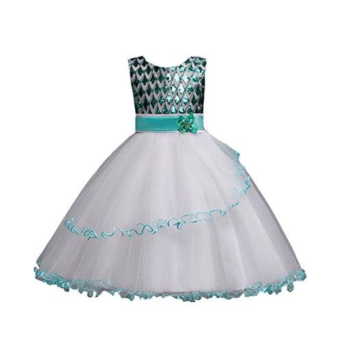 Dress Peacock Party Sequins Bridesmaid Green Sleeveless Dresses Girls' Birthday JIANLANPTT Y8nUBU