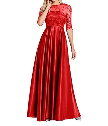 Lang Ballkleider Standsamt Spitze Rot Kleider Abendkleider Brautmutterkleider Damen Langarm Charmant wBSpOp