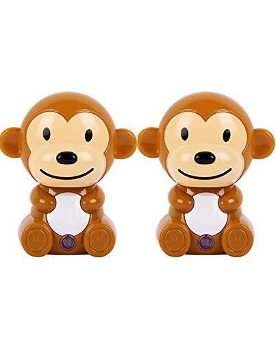 2 Pack-Cartoon Monkey Shaped LED Plug-in Night Light for Kids - Wall Lamp Take Good Care Children Sleep Light Sensor Auto Controlled Nightlights for Baby Nursing