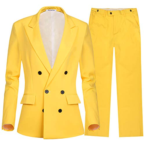 (CMDC Women's Blazer Double Breasted Long Sleeves Flat Front Pants Suit (Yellow, 10))