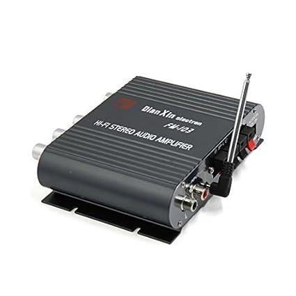 DealMux Universal Preto motocicleta Car Mini Hi-Fi estéreo Amplificador 200W DC 12V