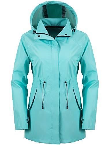 Wantdo Women's Waterproof Trench Coat Lightweight Rain Jacket Packable Windbreaker with Hood