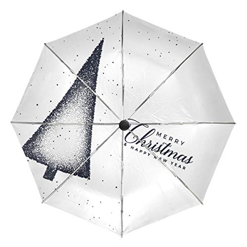(Christmas Tree Stipple Dots Lightweight Umbrella Windproof, Reinforced Canopy, Ergonomic Handle, Auto Open for Men Women)