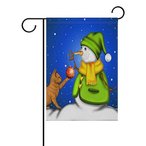 Naanle Christmas Snowman with Kitten Cat Long Polyester Gard