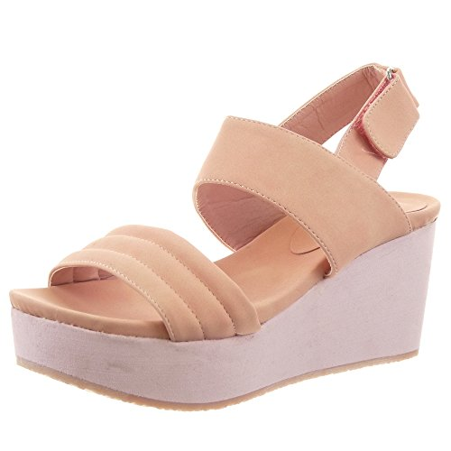 Sopily - Chaussure Mode Sandale Escarpin Plateforme hauteur cheville femmes Lignes Talon compensé plateforme 7 CM - Rose