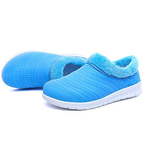 Enllerviid Donne Impermeabile Faux Fur Casa Pantofole Allaperto Peluche Da Giardino Scarpe Blu