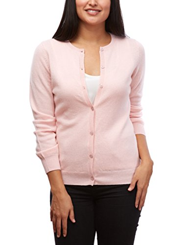 Moon Cats Womens sweaters 100% Cashmere Cardigan Long Sleeve Crew Neck Sweater (Baby Pink, (Pink Cashmere Crewneck Sweater)