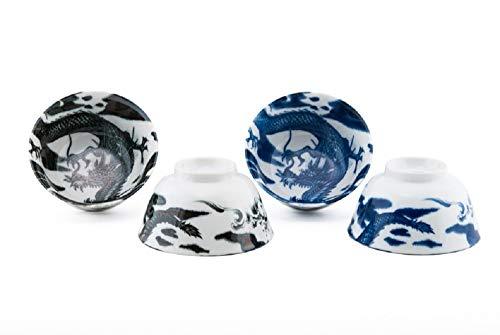 Porcelain Bowl Set of 4 Blue and Black Dragon Motif Made in Japan