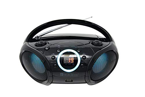 SINGING WOOD CD Boombox Portable/w Bluetooth USB MP3 Player AM/FM Radio AUX Headset Jack LED Backlit (Phantom Black)
