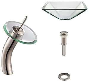 Kraus C-GVS-901-19mm-10SN Clear Aquamarine Glass Vessel Sink and Waterfall Faucet Satin Nickel