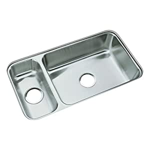 Sterling UCL3322R McAllister 31-1/2-inch by 17-3/8-inch Under-mount High/Low Double Bowl Kitchen Sink, Stainless Steel