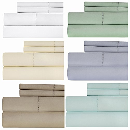Weavely Hemstitch Bedsheet 500 Thread Count 100% Cotton Sheet Set, 4-Piece Bedding Set, Elastic Deep Pocket Fitted Sheet (Full, - Sheet Set 500