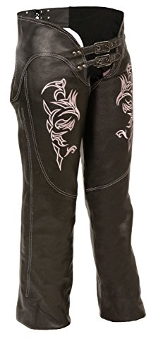 Ladies Pink Chaps - Shaf Leather Womens Chaps Womens Leather Chaps Reflective Tribal Embroidery - 2Xl - Pink