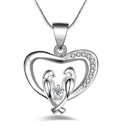 Hugdong Silver Plated Crystal Accent Love Birds on Heart Pendant Necklace with Jewelry Box,Bird Necklace for Women (Silver)