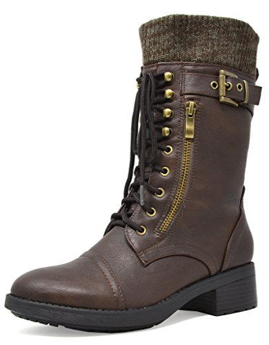DREAM PAIRS Women's Mid Calf Military Combat Boots