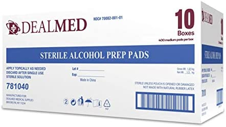 Dealmed Alcohol Prep Pads, Individually Wrapped, Latex-Free, Disposable Pads, 4000/Case 41RcH i5jqL