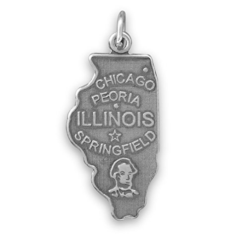 Welcome To Prairie State! Oxidized Sterling Silver Illinois State Charm 13mm X 31mm