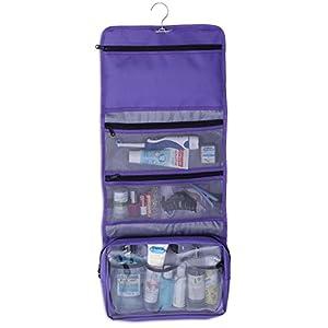 Hanging Makeup Organizer Cosmetic Travel Bag Hanging Toiletry Bag, Purple