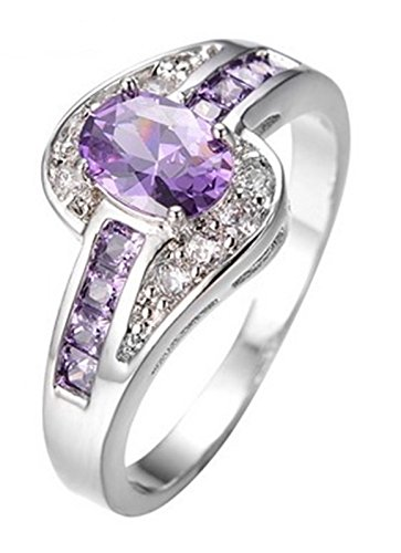 Fortonatori Purple Amethyst Oval Ring Engagement Promise Vintage Cubic Zirconia White Gold Filled - Rims Zinger