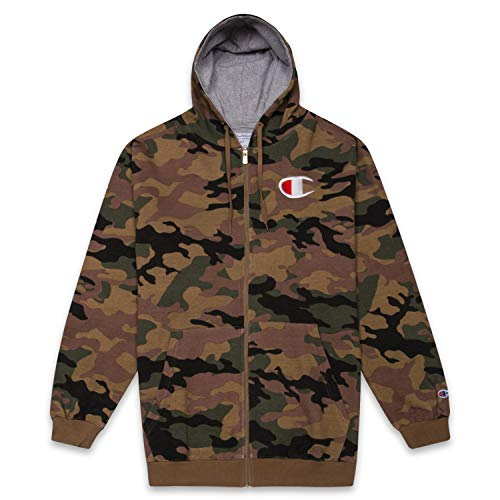 Champion Mens Big and Tall Full Zip Hoodie Classic Embroidered Logo CAMO 3X